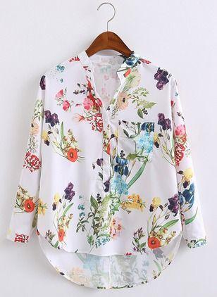 Blumen Lässige Kleidung Polyester V-Ausschnitt Lange Ärmel Hemd