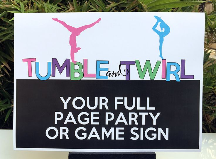 Gymnastics Birthday Party Signs | Editable DIY Templates