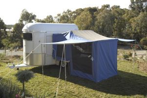 This is AWESOME! Sleeping quarters that attaches to the outside of a two horse trailer!