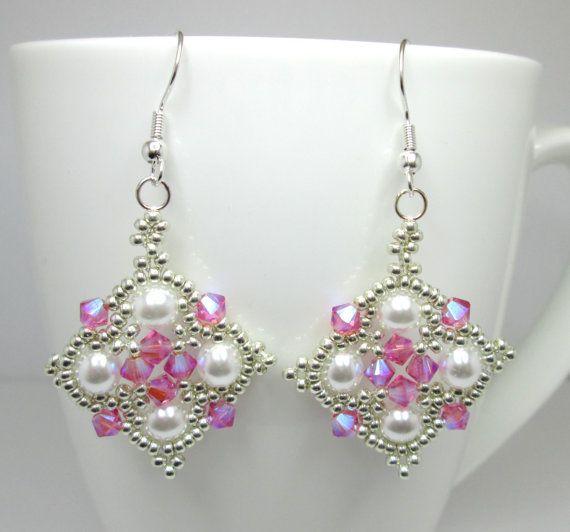 Pink and silver princess earrings rose by AquaStudioDesigns