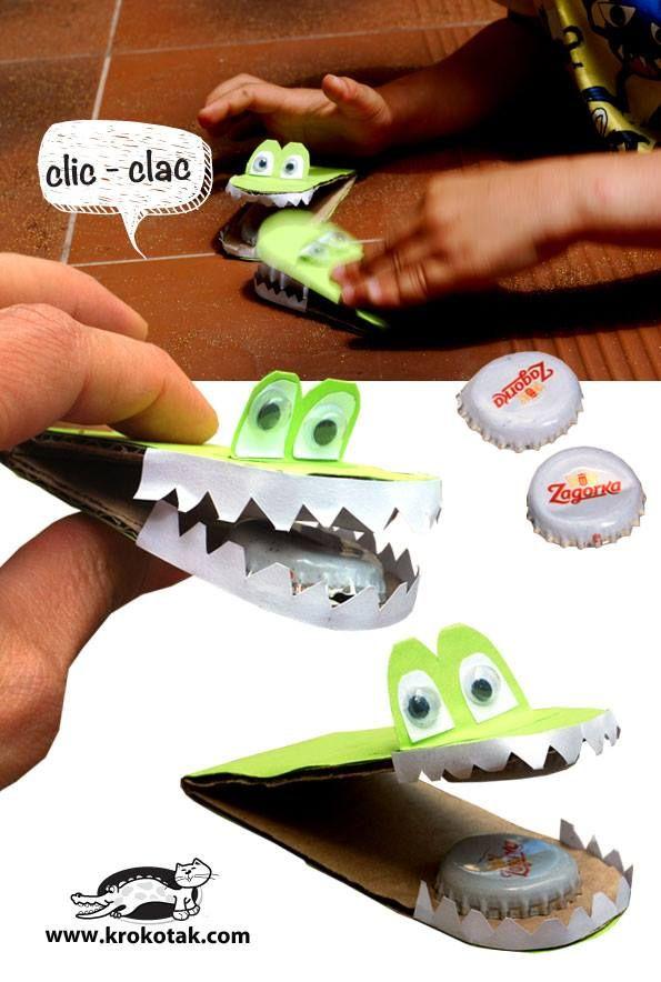 klikklak maken krokodil van doppen en karton