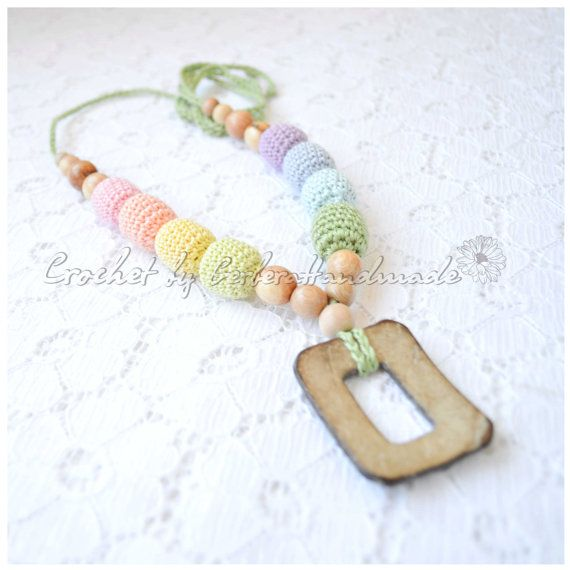 Pastel Rainbow Nursing necklace with ring  by GerberaHandmade