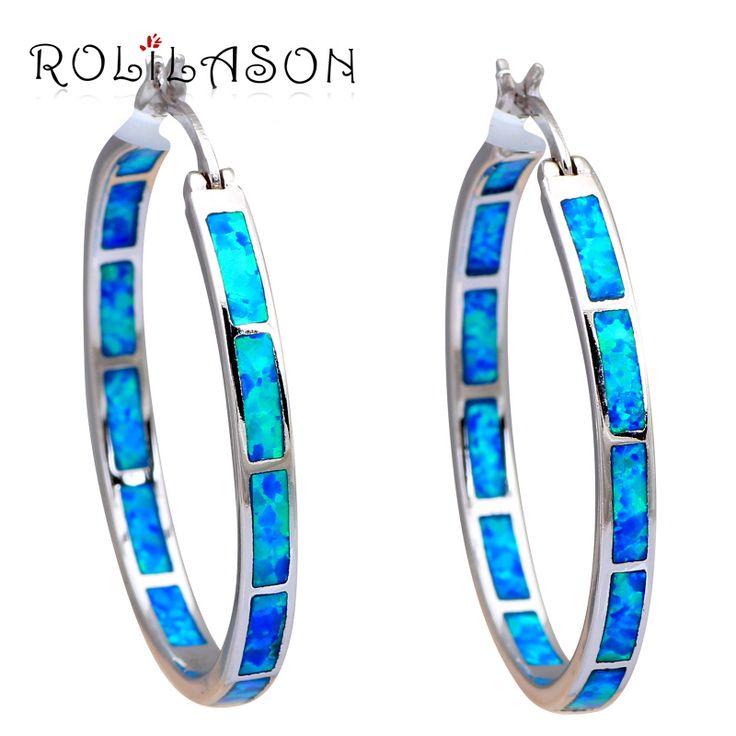 Huge Round  Hoop Earrings for women 2016 Wholesale & Retail Blue Fire Opal Silver Stamped Fashion Jewelry Opal Jewelry OES535