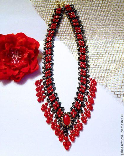 """Колье, бусы ручной работы. Ярмарка Мастеров - ручная работа. Купить Колье """"Фламенко"""". Handmade. Ярко-красный, красное ожерелье"""