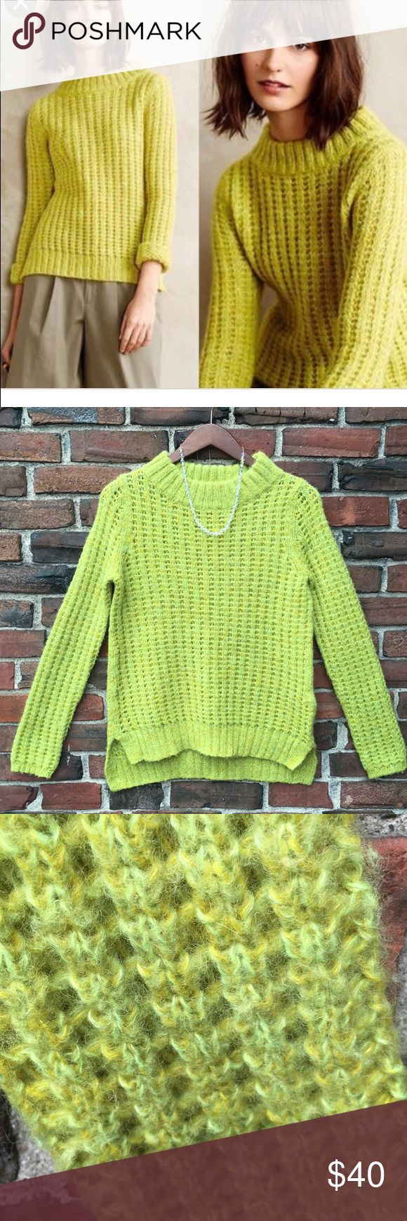 "ANTHRO Field Flower open Weave Chunky Sweater Kill those winter blues with this cozy, lemon-lime wool-blend sweater! Heathered green and yellow weave. Wide ribbed collar adds pizzazz. Split hem. 26"" long; 17"" flat armpit to armpit.Excellent preowned condition. Anthropologie Sweaters"