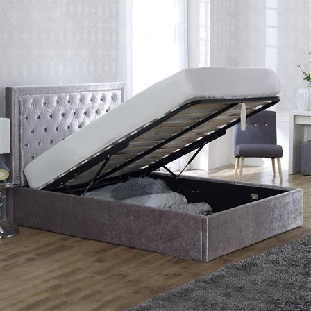 Rhea Ottoman Double Velvet Bed Frame, Crushed Ice, Choose Set