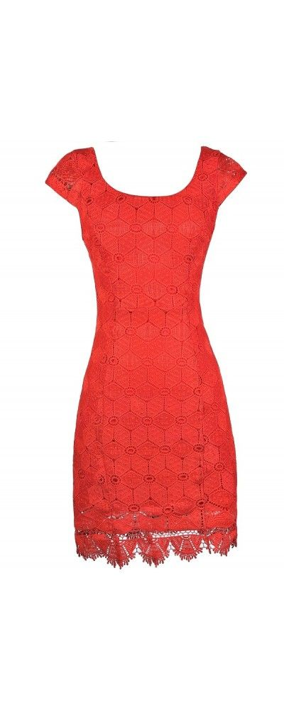 Macrame Lace Capsleeve Pencil Dress in Red Orange  www.lilyboutique.com