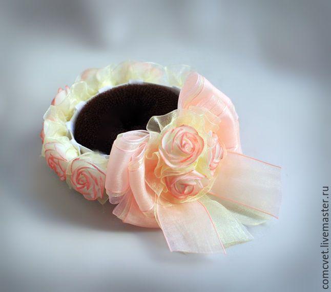 """Купить Резинка на пучок """"Нежность"""" - бледно-розовый, розовый, украшение на праздник, для танцев, резинка на пучок"""