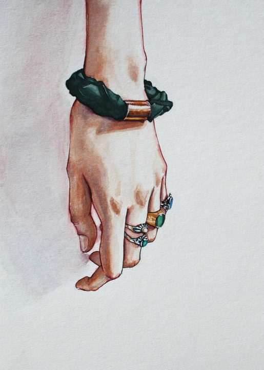 Sketch  a day inspiration for day 37 ~ jewellery.  Jeweled Hand. Watercolor & ink. © Briana Kranz 2012