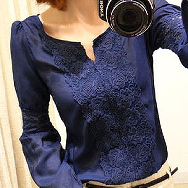 Encontrar Más Blusas y Camisas Información acerca de Promoción al por menor elegante mujeres Ladies Scoop cuello de encaje Floral gasa blusa de manga larga Tops camisetas, alta calidad bolsa de la camisa, China blusa de uso Proveedores, barato blusa de las mujeres de Love at first sight store cn0236 en Aliexpress.com