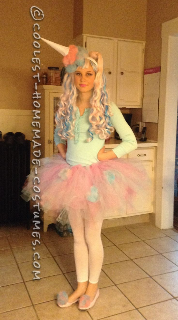 Cute And Sassy Homemade Cotton Candy Costume Cute Girl Halloween -9085