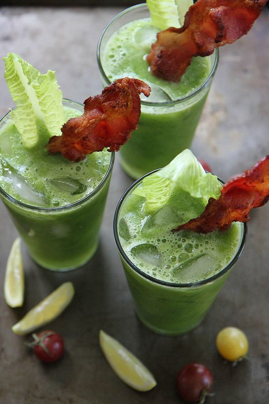 Bacon Infused Vodka Cocktail - Spicy BLT Green Bloody Mary