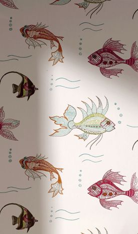 Aquarium wallpaper Osborne and Little; love this!  Would look great in a study nook or as backing for book shelves