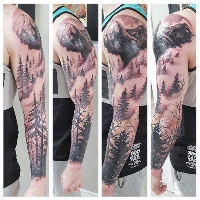 Forest Mountain Landscape Half Sleeve Tattoo Blue White Top Grey Pants In 2020 Sleeve Tattoos Tattoo Sleeve Men Nature Tattoo Sleeve