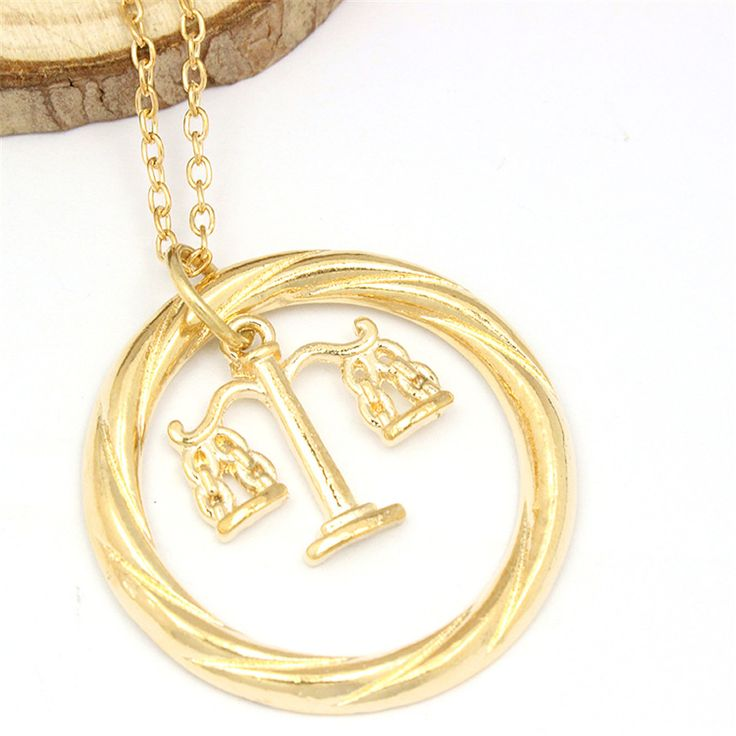 Burnished Gold Law Lawyers Pendant Necklace Gift Scales of Justice Libra Sign