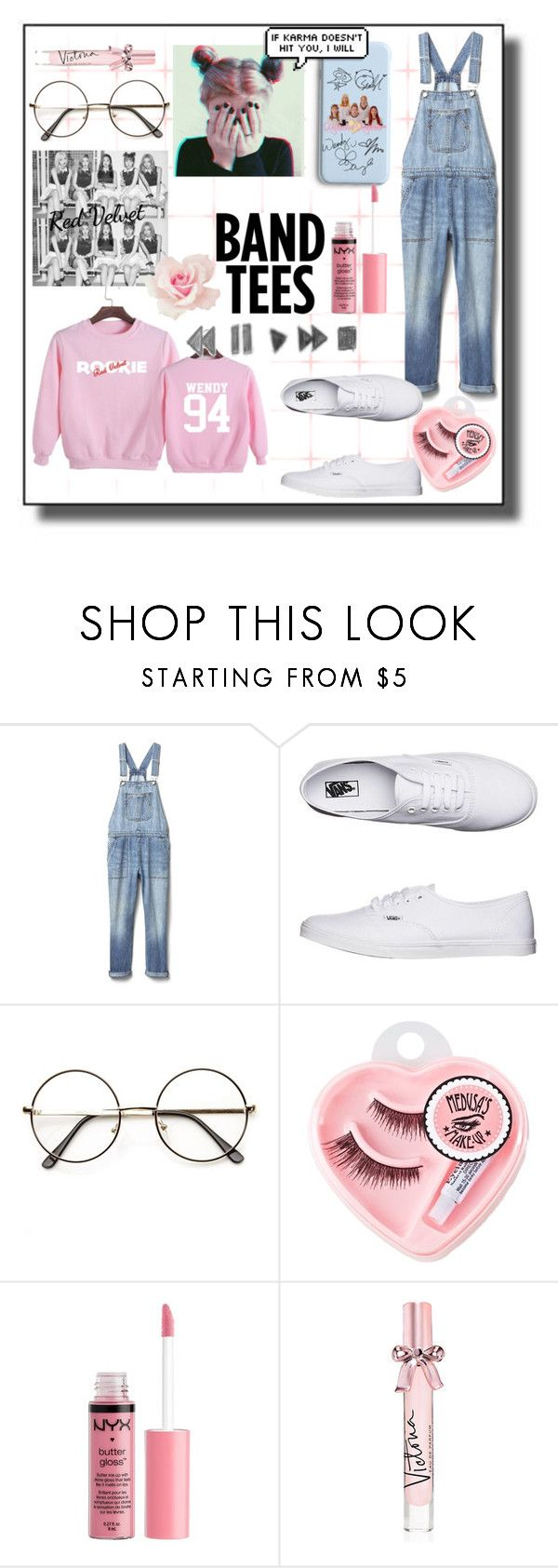 """""""Band Tees: Red Velvet"""" by pastel-crybaby ❤ liked on Polyvore featuring Gap, Vans, Medusa's Makeup, Charlotte Russe, Victoria's Secret, bandtees and redvelvet"""