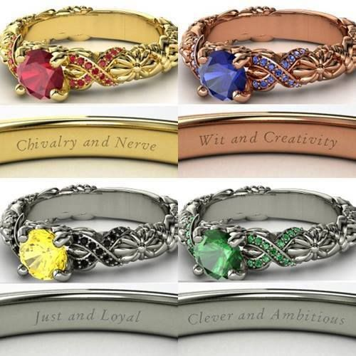 All four rings ... Slytherin is still the best. love how it has the words on the inside!
