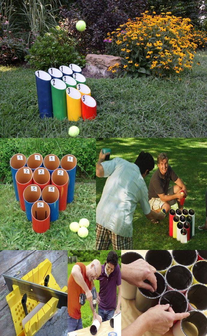 "PIPE BALL GAME: 4"" diameter pvc pipe, cut with 30° angle on one end & straight cut on other ends. Lengths of pipes(from flat bottom to very tip of the 30°angle): 4 @ 14"", 3 @ 11.5"", 2 @ 9"", 1 @ 7"". Paint pipes. Set the cut pipes in a triangle bowling pin shape(tallest in back 4, 3, 2, 1). Mark spots on adjoining pipes, drill ¼"" holes, use zip ties thread into holes & attach, cut off excess tie, repeat until all are secured. Attach numbers to represent point values. 3 tennis balls for each…"