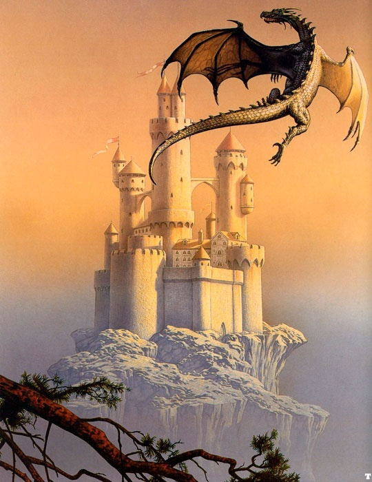 Dragon flying over castle by Ciruelo Cabral