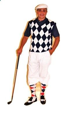 Our Navy White and Red Sweater Vest completes our Mens Golf Knickers Outfit with White Knickers and Socks.