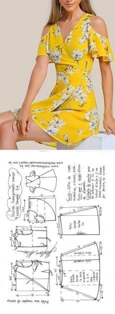 Vestido transpassado ombros vazados | DIY - molde, corte e costura - Marlene Mukai