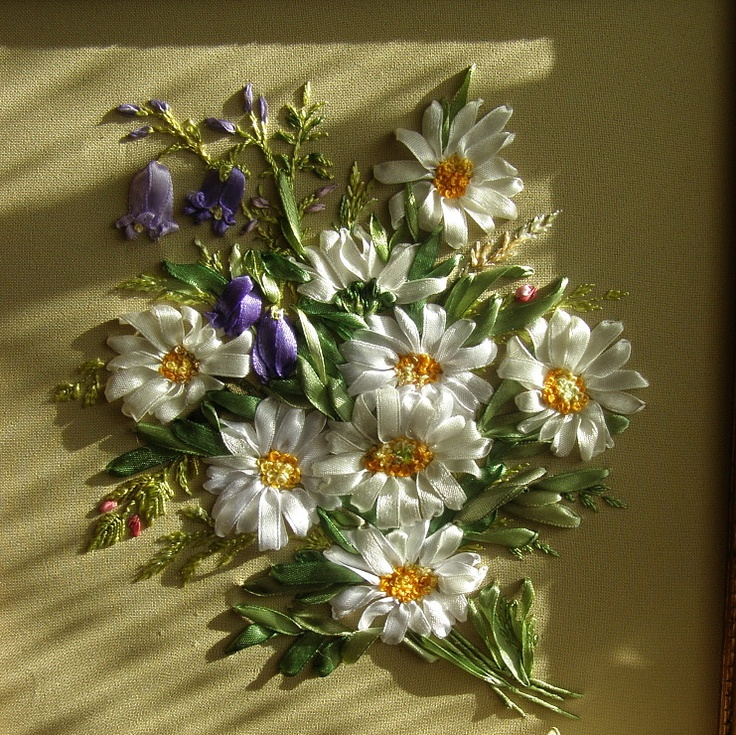 Ribbon embroidery -- will have to do these daisies for my Mother in law for her next bday