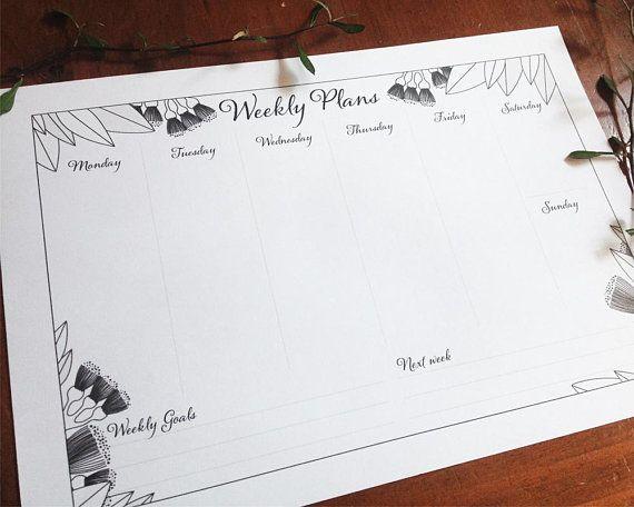 Printable Weekly Planner botanical style Corokia Studio New