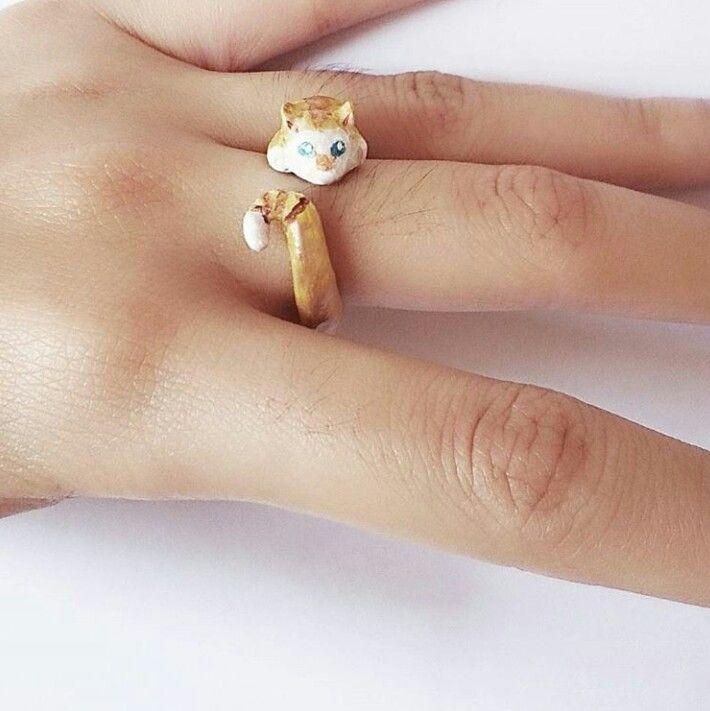 DIY Cat clay ring  Instagram : @qmjft Email : iqmjft@gmail.com