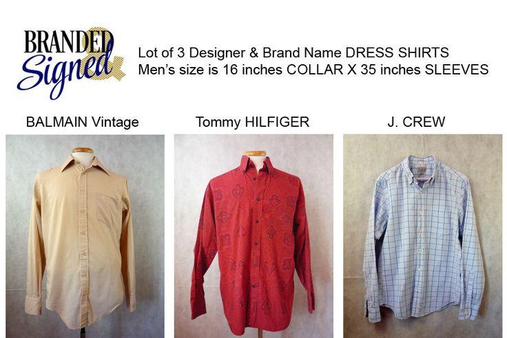 Dress Shirts LOT of 3 Men s 16  Collar X 35  Sleeves Designer & Brand names  | eBay