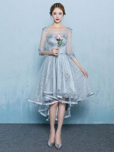 Beautiful hi low style formal evening dress with sleeves. Perfect for your prom, homecoming or any special occasion. Photoed in Dove Gray. This dress is made to order and turn around time is around 4-