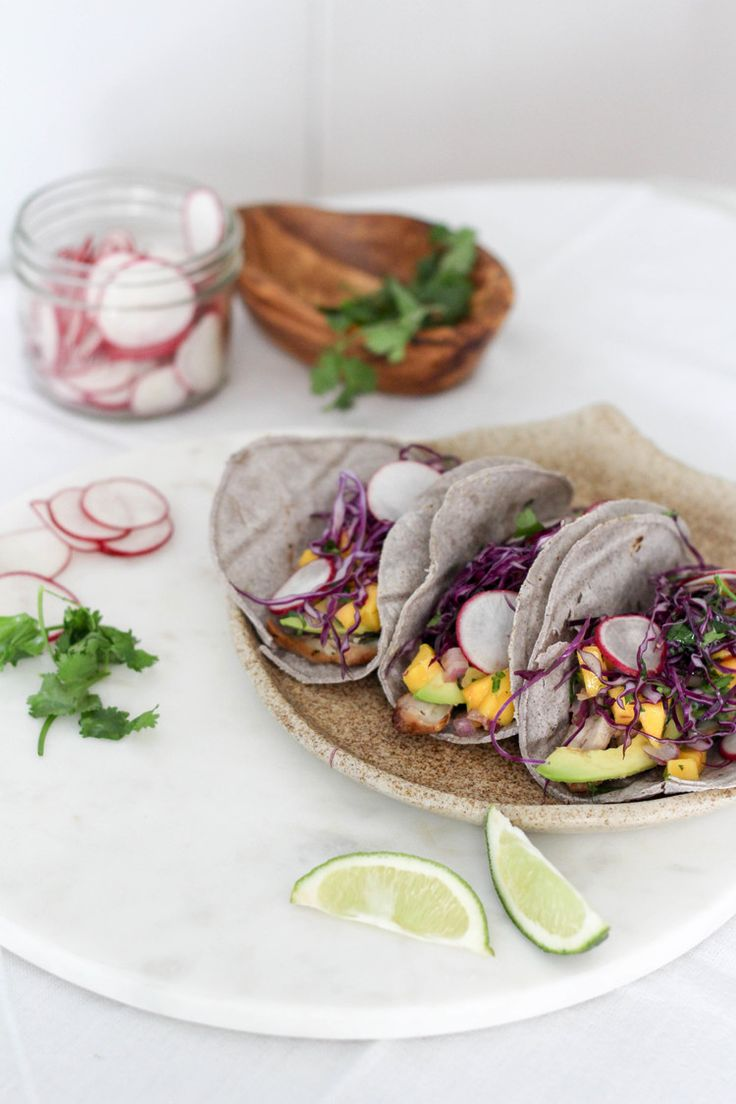 Five-Spice Asian Chicken Tacos with Spicy Mango Salsa + Sweet Cabbage Slaw by KIKAN BLVD.