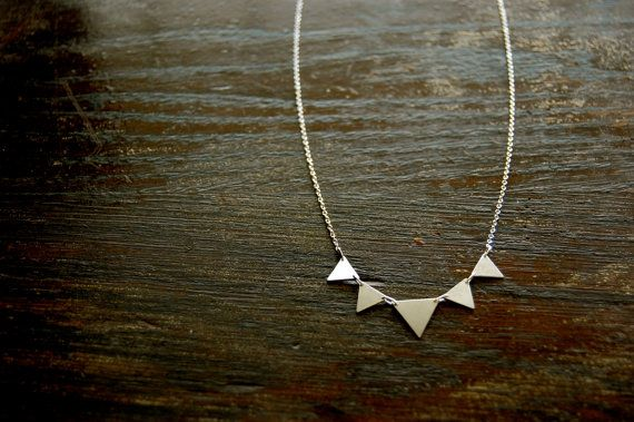 Sterling Silver Triangle Necklace Handmade. by JewelrybySaveria, $50.00