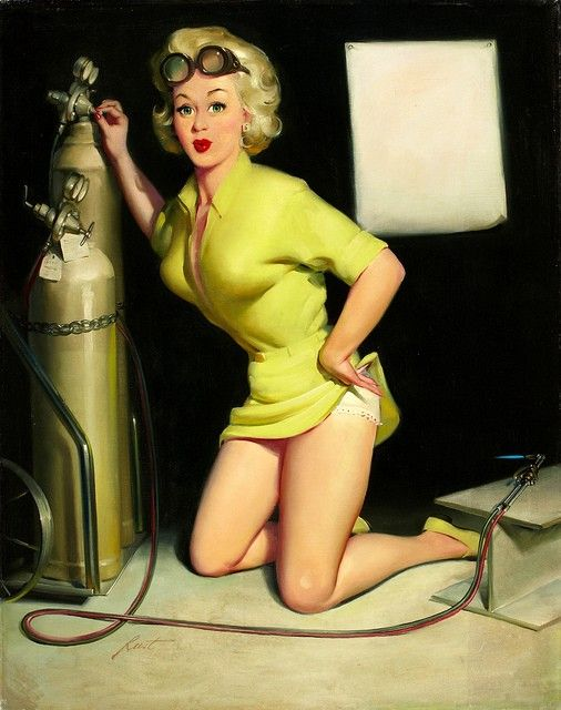 welding pin up girl