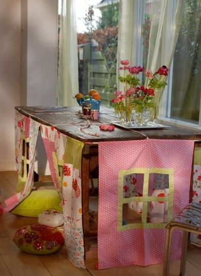 I think most kids have made a tent or a fort using the dining room table. But the cute little windows in this one makes ME want to sit unde. & 30 best Table tents images on Pinterest | Table tents For kids ...