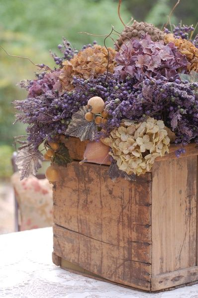 Subdued tones of thistles and mauves | Bridal floral arrangements #inspiration…