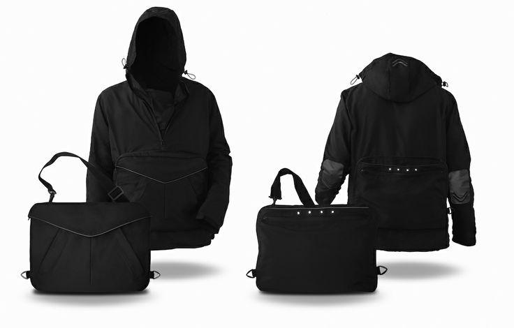 Our bag/jacket conceived for urban bikers. #bag #jacket #changing #metamorphosis #citylife #bike #bicycle #urban #lifestyle #multifunctional #design #products #metropolitan #style