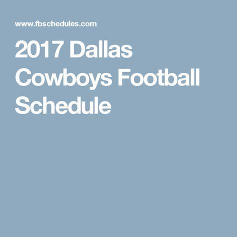 2017 Dallas Cowboys Football Schedule