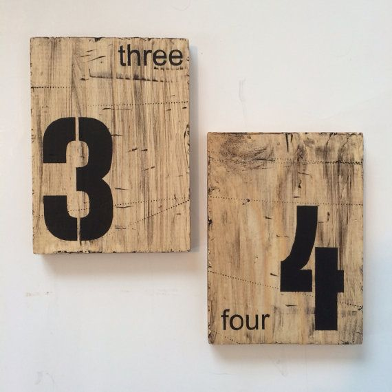 Wedding table numbers, industrial signs, industrial table numbers on Etsy, $6.50