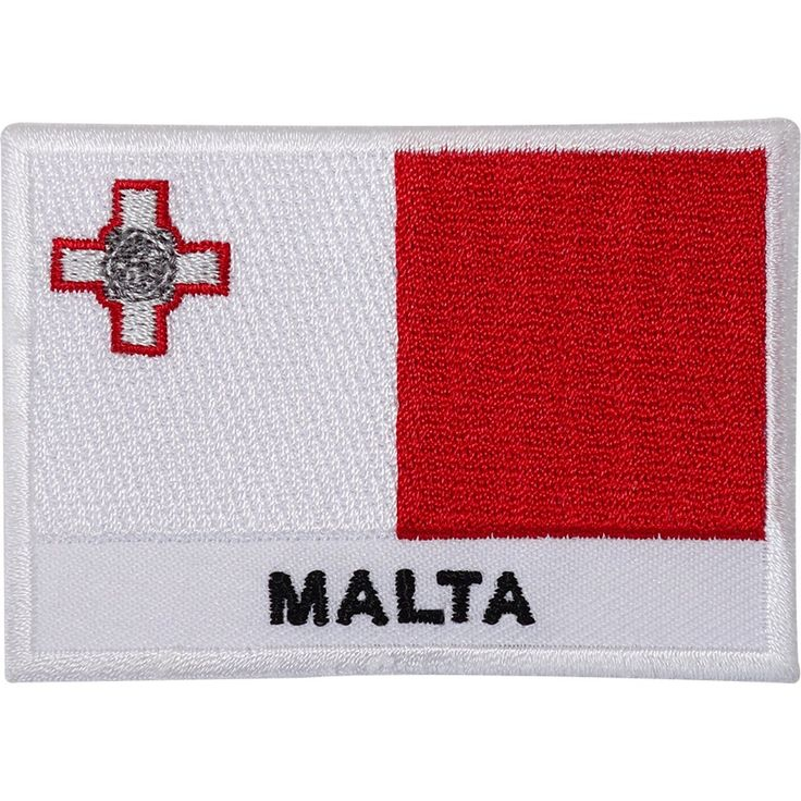 Malta Flag Embroidered Iron / Sew On Patch George Cross Maltese Embroidery Badge