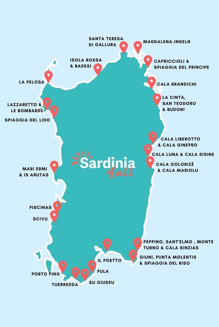Karte Sardinien Strände.Traumstrände Sardinen Die Schönsten Strände Und Was Sie So