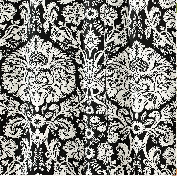 Black and White Retro print Fabric Shower Curtain by m style ...