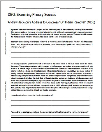 Andrew Jackson - On Indian Removal, 1830 ||| Free Printable DBQ Worksheet for American History, Grades 7-12