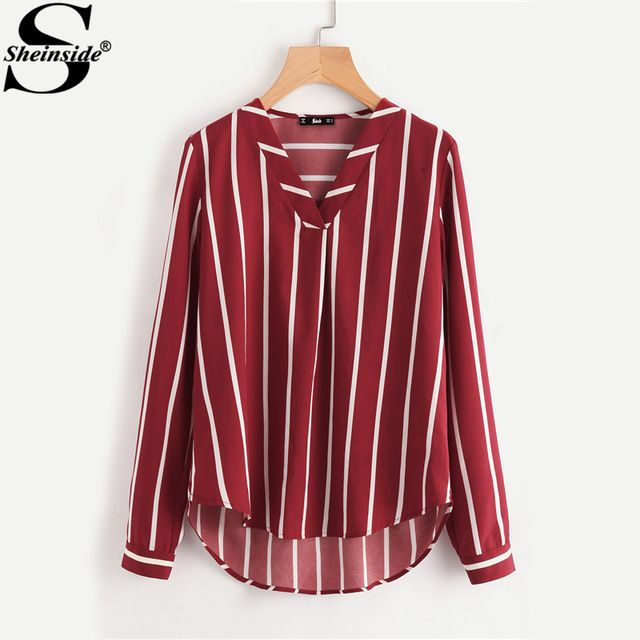 US $11.98 Sheinside Red Striped V-Placket Curved High Low Blouse Women V Neck Long Sleeve Casual Tops Ladies 2017 Work Blouse