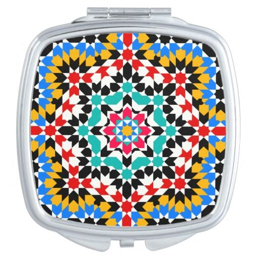 Islamic geometric pattern travel mirror