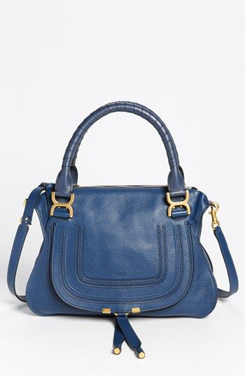 Chloé 'Marcie - Small' Leather Satchel available at #Nordstrom at around $1900.00. The detail and quality are worth every dime. The cobalt blue is gorgeous, comes in 7 more colors, but I will just be a admirer, not a buyer. That's ok. The beauty turns on my endorphins and makes me feel mighty fine.: Buy Handbags, Leather Satchel, Quality Handbags, Satchel 1 895 00, Handbags Briefcase Totes, Awesome Handbags, Purses Handbags