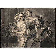 """""""Four Ladies Playing Musical Instruments"""" (no title)    ca. 1750  Attributed to: John Faber  Origin: England  OH: 10 5/8"""" x OW: 14 1/2""""  Black and white mezzotint engraving  CW Acc. No. 1975-260"""