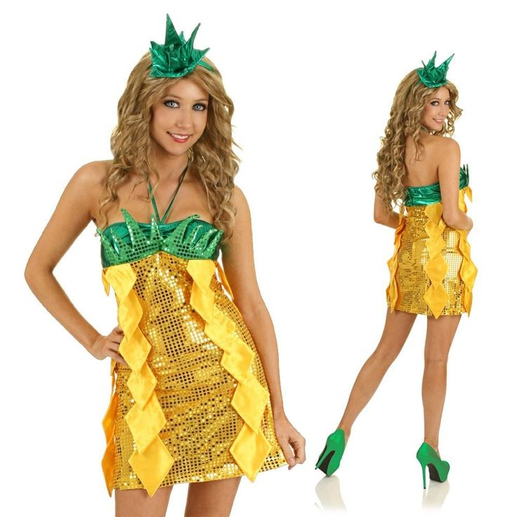 Adult Sexy Pineapple Fruit Costume Funny Food Fancy Dress Hens Party Outfit