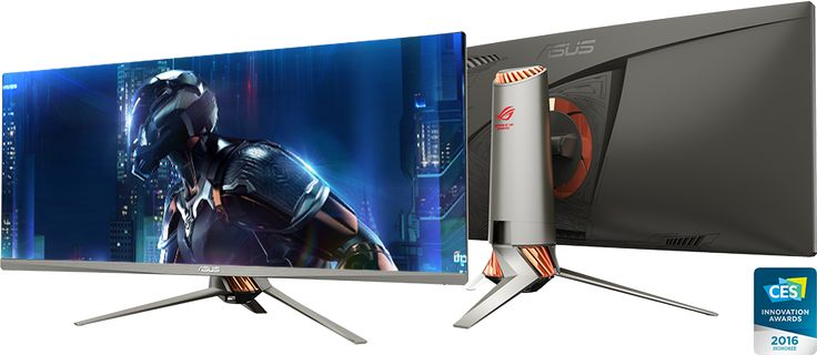 ROG Swift PG348Q gaming monitor, a 34-inch Ultra-wide QHD (3440 x 1440) curved monitor with a 21:9 aspect ratio for panoramic gaming. It features NVIDIA® G-SYNC™ technology and a 100Hz fresh rate. A Turbo Key lets users toggle refresh rates from 60Hz  to100Hz on the fly. The 2016 CES Innovation Award-winning Swift PG348Q has a frameless design, and features the new ROG Armor Titanium and Plasma Copper color scheme and built-in LED effects.