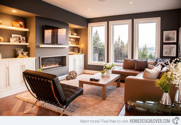 I like the grey, but I'd like to see some brighter accent colors, too - 15 Interesting Living Room Paint Ideas