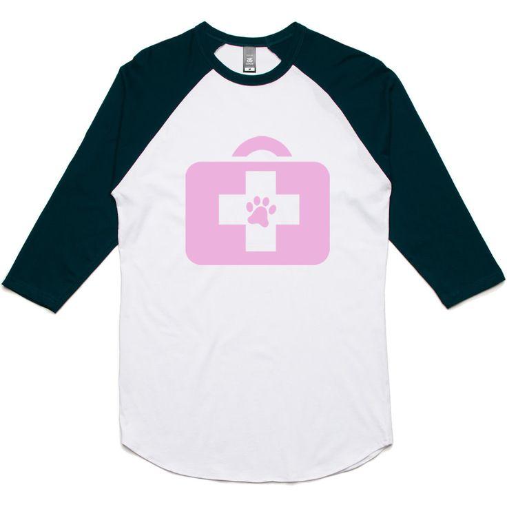 theIndie Animal Doctor (Pink) 3/4-Sleeve Raglan Baseball T-Shirt